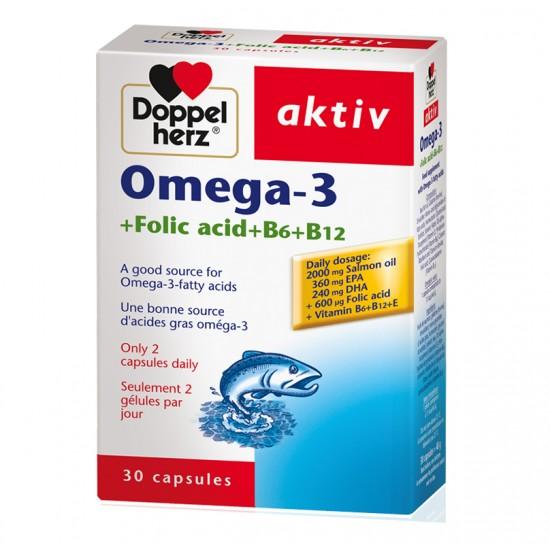 Doppelherz Omega-3 +Folic Acid+B6+B12 Capsules X 30